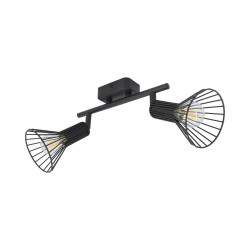Ceiling lamp Adjustable Royal 2 Spots Black