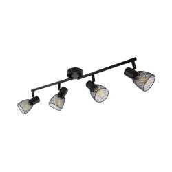 Lampe de Plafond Linéaire Orientable Grid 4 Spots Noir