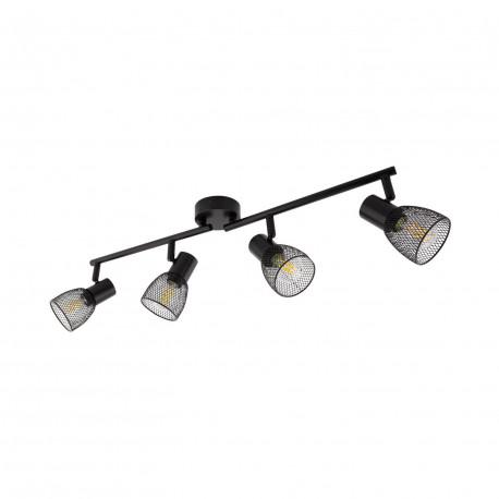Ceiling lamp Linear Rotatable Grid 4 Spots Black