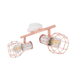 Ceiling lamp Adjustable Lada 2 Spots White Copper