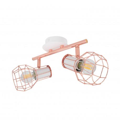 Ceiling lamp Adjustable Lada 2 Spots White Copper