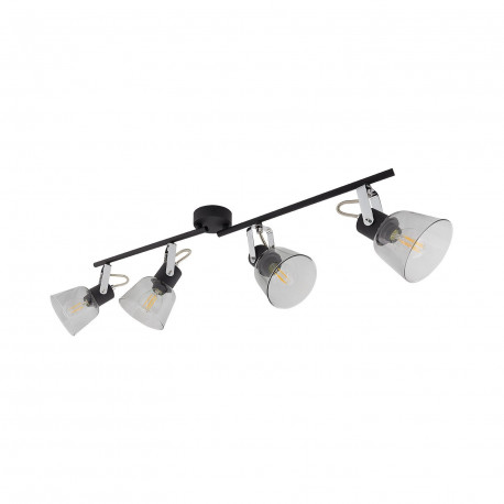 Lampe de Plafond Orientable Tivo 4 Spots Noir