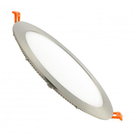 Dalle LED Ronde Extra Plate 15W Cadre Argenté