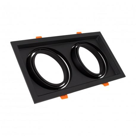 Support Spot Carré Orientable pour 2 Ampoules LED AR111