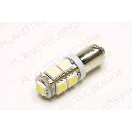Eclairage LED pour voiture et moto : Ampoule Led BA9S - T4W - 9 Leds SMD Bleues