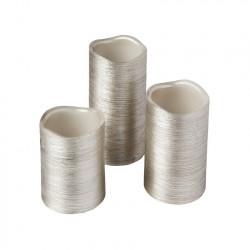 Pack of 3 Christmas Candles Silver Special Flame