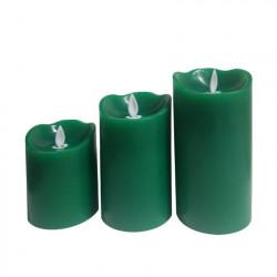 Pack de 3 Bougies de Noël LED Verte Special Flame