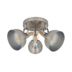 Lampe de Plafond Ronde Orientable Emer 3 Spots Argenté