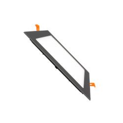 Dalle LED Carrée Extra Plate LED 12W Cadre Noir