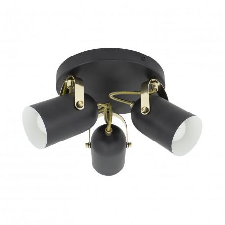 Lampe de Plafond Ronde Orientable Cano 3 Spots Noir