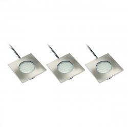 Kit 3 Spots Led Marbella carrés 3X 1,5W Ip20 240Lm Aluminium
