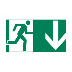 Exit right evacuation symbol sticker 100x300mm