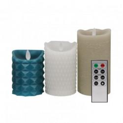 Pack de 3 Bougies LED Cire Naturelle Mix avec Télécommande