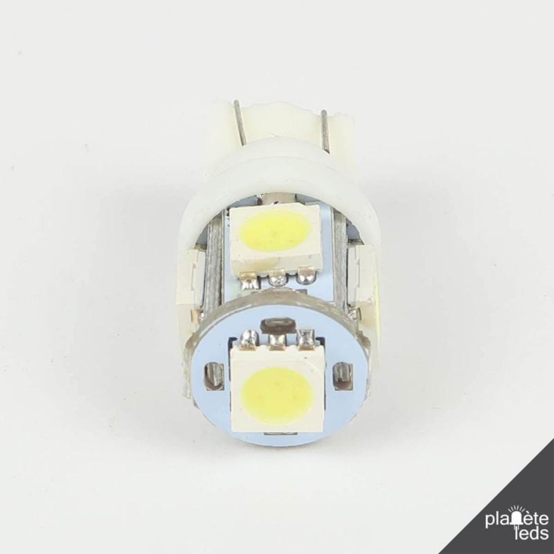 2 x Ampoule T10 W5W Anti-Erreur ODB 5 Leds Blanches Pour VW Touareg