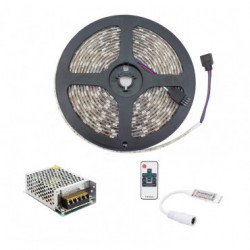 5m RGB LED Strip 12V DC, SMD5050, 60LED/m, IP65 + Power Supply and Controller