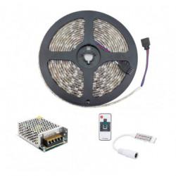 Kit Ruban LED 12V DC SMD5050 60LED/m 5m RGB IP65 avec Bloc d'Alimentation et Con