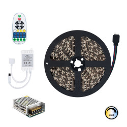 5m LED Strip 12V DC, SMD5050, 60LED/m, IP20 with Selectable CCT + Power Supply and Controller