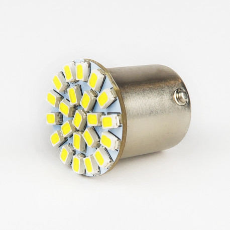Eclairage LED pour voiture et moto : Ampoule Led BA15S/1156 22 Leds SMD 140° Blanche 6V