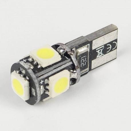 Eclairage LED pour voiture et moto : Ampoule T10 FIRST Anti-Erreur OBD 5 Leds Blanches