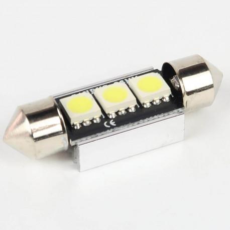 Eclairage LED pour voiture et moto : Ampoule Navette FIRST Anti-Erreur OBD 2 Leds Blanches 36mm