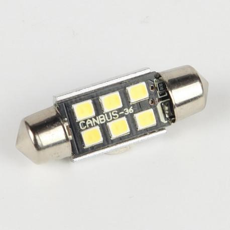 Eclairage LED pour voiture et moto : Ampoule LED Navette C5W 36mm Canbus 6 leds 10-30V