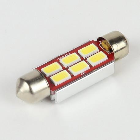 Eclairage LED pour voiture et moto : Ampoule Navette Slim C5W 6 Leds Blanches 5730 CANBUS OBD 39mm