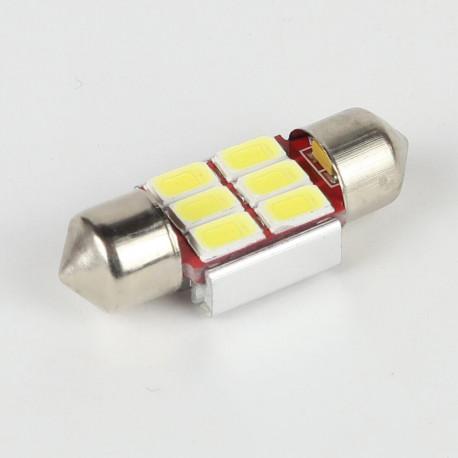 Eclairage LED pour voiture et moto : Ampoule Navette Slim C5W 6 Leds Blanches 5730 CANBUS OBD 31 mm