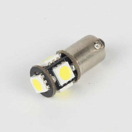 Eclairage LED pour voiture et moto : Ampoule Led BA9S -T4W - Anti-Erreur ODB 5 Leds Blanches