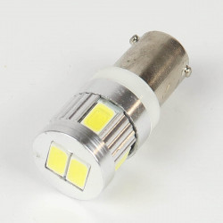 Ampoule Led BAX9S/H6W Anti-Erreur OBD 6 Leds Blanches 10-24 V