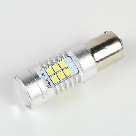 Eclairage LED pour voiture et moto : Ampoule LED BA15S 1156 P21W Canbus 21 leds 10-30V