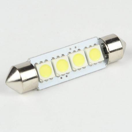 Eclairage LED pour voiture et moto : Ampoule Navette C5W 4 Leds SMD5050 41 mm FIRST