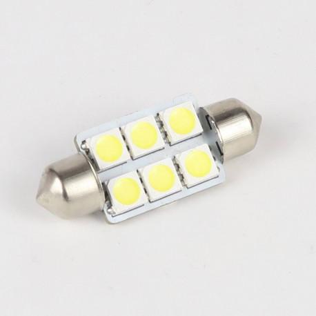 Eclairage LED pour voiture et moto : Ampoule Led Navette C5W 6 Leds 36 mm