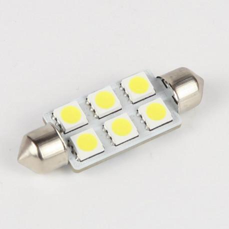 Eclairage LED pour voiture et moto : Ampoule Led Navette C5W 6 Leds 41 mm