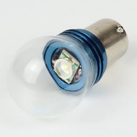 Eclairage LED pour voiture et moto : Ampoule Led BAU15S PY21W 1 Led 3W High Power Blanche
