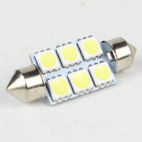 Eclairage LED pour voiture et moto : Ampoule Led Navette 36mm 6 Led SMD5050 120° Blanche 6V