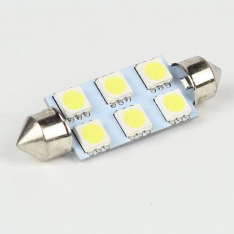 Eclairage LED pour voiture et moto : Ampoule Led Navette 41mm 6 Led SMD5050 120° Blanche 6V