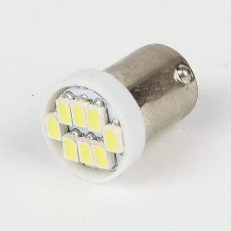 Eclairage LED pour voiture et moto : Ampoule Led BA9S 8 Led SMD Blanche 6V