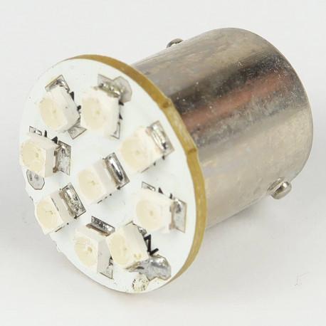 Eclairage LED pour voiture et moto : Ampoule Led BA15S - 1156/1157 - 9 Leds Bleues