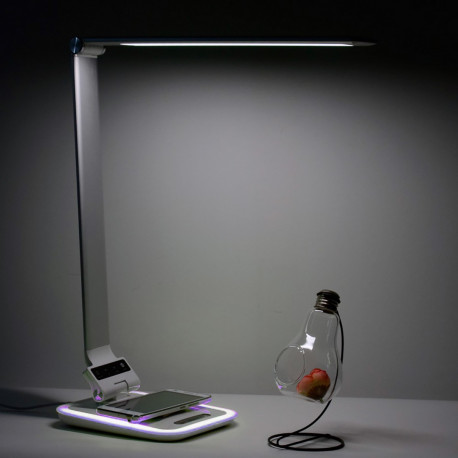 White/RGB LED Desklamp with wireless charger for smartphone