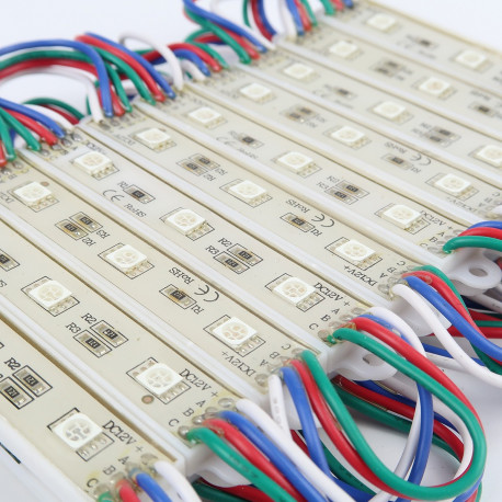Chaine de 20 Modules Rectangle de 3 LED RGB 5050 IP65