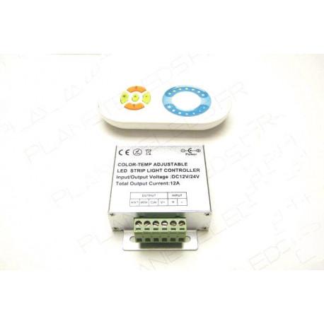 Contrôleurs et dimmers pour installation LED : Controleur Bi-Couleur Sans Fils 12A 12V + Télécommande
