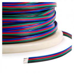 Rouleau 100m Gaine Câble Électrique Plat 4x0.5mm² pour Ruban LED RGB
